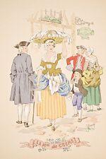 Petits métiers disparus La Marchande de Crème Pochoir E. NAUDY XX° siècle
