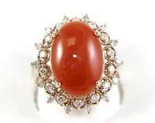 Natural Oval Orange Oval Coral Lady's Ring w/Diamond Halo 5.97Ct 14k Rose Gold