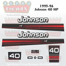 1995-96 Johnson 40 HP Outboard Reproduction 10 Pc Marine Vinyl Decals 2 Cylinder
