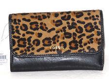 New Fossil Memoir Black Leather Cheetah Calf Hair Flap Wallet NWT $75