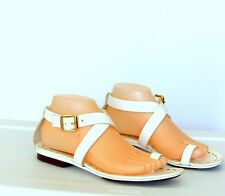 Michael Kors White Leather Ankle Strap Buckle Flat Toe Ring Sandal Shoes Sz 8M