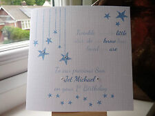 Handmade Personalised  1st Birthday Card Son Grandson Boys  2 3 twinkle twinkle