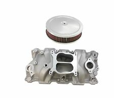55-86 SB Chevy Aluminum Intake Manifold Spread Bore 305-350 V8 FREE AIR CLEANER