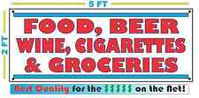 FOOD BEER WINE CIGARETTES GROCERIES Banner Sign Vintage Retro Look Gas Station