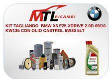 KIT TAGLIANDO BMW X3 F25 XDRIVE 2.0D 09/10 KW135 CON OLIO CASTROL 5W30 5LT