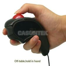 USB 2M CABLE Handheld Wired Trackball Mice Mouse 1600dpi Black Red for LAPTOP PC