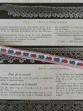 ANCIEN GALON JACQUARD FLEURETTE MEDAILLON ROUGE/BLEU  vendu au mètre