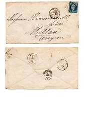 + FRANCE, 1859, ENVELOPPE, TIMBRE 20c, de Paris à Millau