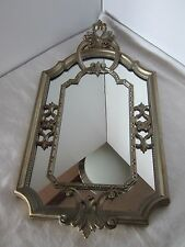 "Vintage Mirror Ornate Wall Mirror Hollywood Regency Italy Silver Gold tone 23"" H"