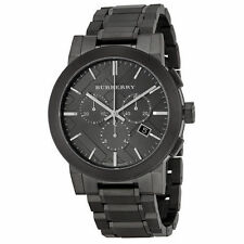 Brand New Burberry Chronograph Men's Dark Nickel Stainless Steel Watch BU9354