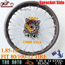 "12 mm Axle 1.85-12"" 80/100-12 Rear Rim for 70 110 125 cc off road Pit Dirt Bike"