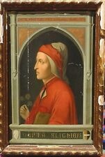 Fine 16th 17th Italian Old Master Portrait Dante Alighieri Antique Oil Painting