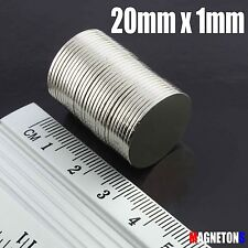 25 Neodymium Magnets DISC CYLINDER 20mm x 1mm N38 STRONG  20 x 1