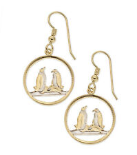 "Penguin Earrings, (Falklands )14k Gold and Rhodium Plated,5/8"" in Dia.,( # 99E )"