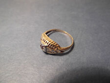 Rare Antique Victorian Childs 14k Gold Ring With Garnet & Diamond Chips