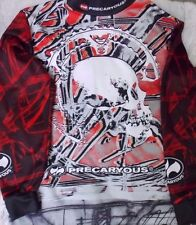 Precaryous Cycling Jersey Long Sleeve Skull Design Arm Pads XL
