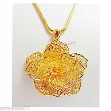 FLOWER CARVE 22K 23K 24K THAI BAHT YELLOW  GOLD GP JEWELRY PENDANT CLASP PIN