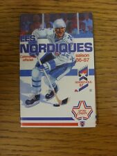 1986/1987 Fixture Card: Ice Hockey - Nordiques Quebec (fold out style). Any faul