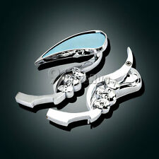 Chrome Skull Rearview Mirrors For Harley Davidson Softail Sportster Dyna Touring