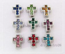 10PCS birthstone cross Floating Charms For memory Locket Free shipping FC199