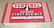 VINTAGE SENTINEL BRAND UTILITY FIRST AID KIT TIN BOX BL
