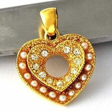 CHIC Yellow Gold Filled Heart Clear CZ small Pearl Girls Womens Pendant