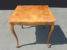 Vintage French Provincial Style Burl Wood Veneer Carved BRIDGE CARD TABLE
