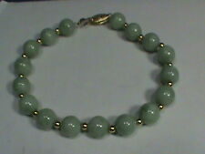 "14K Yellow Gold Natural Genuine Green Jade Bracelet, 8"" Long"