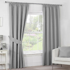 PAIR OF TEXTURED EMBOSS THERMAL BLACKOUT PENCIL PLEAT CURTAINS + TIE-BACKS