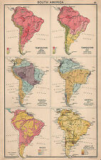 1931 MAP ~ SOUTH AMERICA SHOWING TEMPERATURE RAINFALL RACES INDIANS & POPULATION