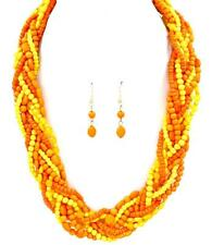 MULTI ORANGE AND YELLOW LUCITE BEAD BRAIDED GOLD TONE NECKLACE EARRING