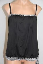 NWT 24th & Ocean by VM Swimsuit Tankini Top Sz XL BLK Tank Bandeaukni Strapless
