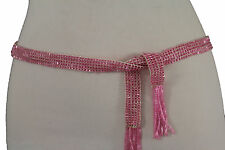 Women Pink Beads Fabric Sash Tie Fashion Belt Hip Waist Long Fringes Scarf S M L