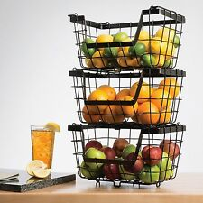 Giftburg Stack Baskets,Set of 3,Storage Fruit Rack Holder Kitchen Organization