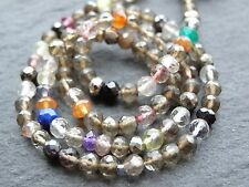"HAND FACETED SMOKEY QUARTZ ROUNDS WITH OTHERS, approx 3.5mm, 13"", 110 beads"