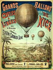 VINTAGE HOT AIR BALLOON NICE FRENCH ADVERTISING A4 POSTER PRINT