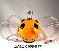 Double Hose Tobacco Pipe - Ceramic Smiley Bong - 2 Person Smoking Pipe Gauzes