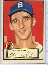 Very Good-Excellent 1952 Warren Spahn Topps Baseball Card/Red Back #33