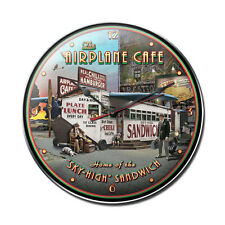 """The Airplane Cafe 14"""" Wall Clock - Hand Made in the USA with American Steel"""