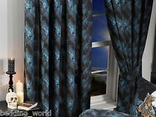 "LOUPS GAROU 66""x72"" CURTAINS & TIE-BACKS ALCHEMY GOTHIC WEREWOLF WOLF BLACK BLUE"