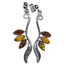 4.81g Authentic Baltic Amber 925 Sterling Silver Earrings Jewelry A8174