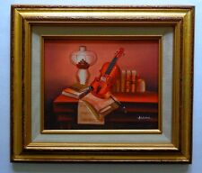 Still Life with Violin and Books on Table Oil Painting Original Signe By Artist