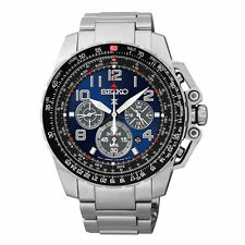 Mens Seiko Solar Stainless Steel Blue Dial Chronograph Diver Sport Watch SSC275
