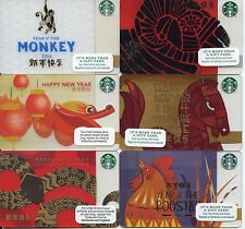 COMPLETE SET 6 CHINESE STARBUCKS  NEW YEAR 2012 to 2017 LIMITED EDITION  CARDS