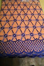African Cotton Voile Embroidery Lace Material Fabric 5 Yards Peach/Royal Blue