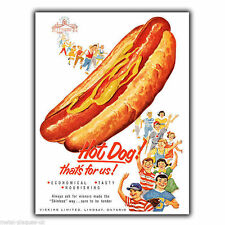Letrero de metal placa de pared Hot Dog Hotdogs Americana Retro De colección cartel anuncio