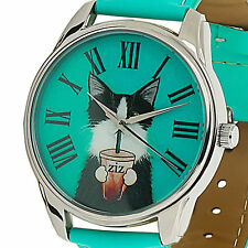 Cat Women Casual Wrist Watch Quartz Leather Band Green Dial Gift Ideas for Her