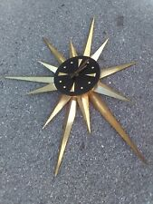 Atomic Star/Sunburst Clock Vintage Mid Century TheModernHistoric Gold Black