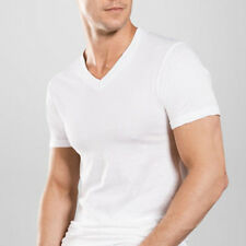 Lot of 9 Mens V-Neck T-Shirt Undershirt 100% Cotton Plain Tee White L