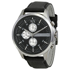 Armani Exchange Chronograph Black Dial Black Leather Mens Watch AX2153